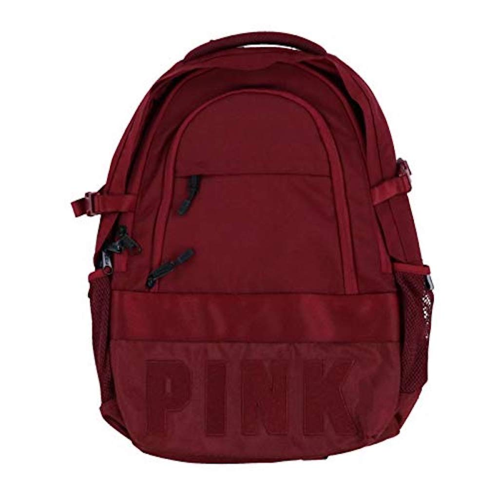 Victoria's Secret Pink Collegiate Backpack Burgundy Ruby Dark Red School Book Bag by Victoria's Secret