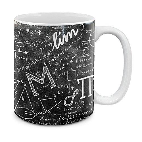 MUGBREW Math Equations Blackboard White Ceramic Coffee Mug Tea Cup, 11 OZ