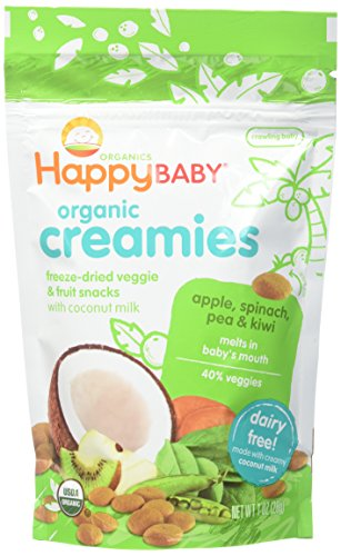 Price comparison product image Happy Baby Organic Creamies Freeze-Dried Veggie & Fruit Snacks with Coconut Milk, Apple, Spinach, Pea & Kiwi, 1 Ounce (Pack of 8) Packaging may vary