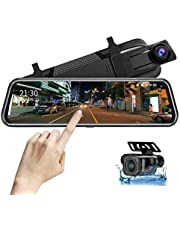"""Mirror Dash Cam Front and Rear Camera Mirror Camera for Car Rear View Mirror 10"""" 1080P hd Mirror Dash Cam Streaming Media DVR 170° Wide Angle Night Vision, Parking Reversing Camera Full Touch Screen with Loop Recording"""