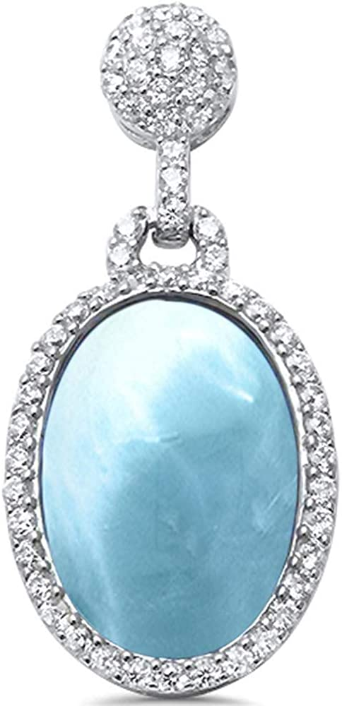 Princess Kylie Natural Larimar Cubic Zirconia Oval Dangling Pendant Sterling Silver