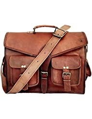 IndianHandoArt 15 Inch Leather Bag Leather Messenger Bag for Men and Women Crossbody Bags for Men and Women,...