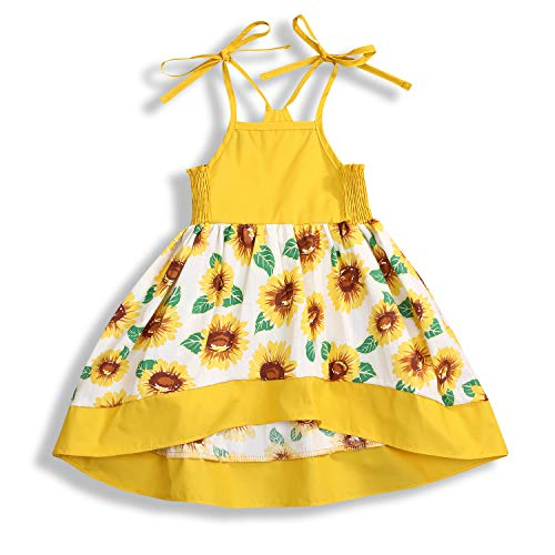 Toddler Baby Girl Halter Sunflower Printed Princess Dress Summer Outfits Kids Clothing ... Yellow
