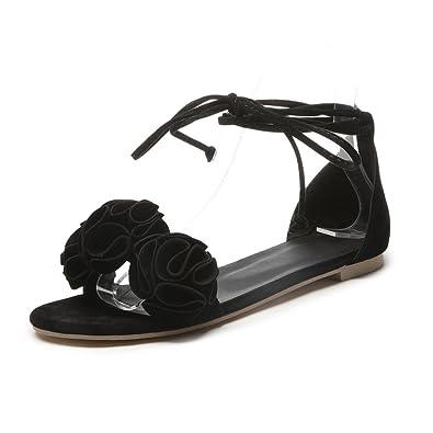 80e00db6bc1d GIY Women s Bohemian Flower Flat Dress Sandals Strappy Open Toe Comfort Fashion  Summer Beach Sandals Shoes
