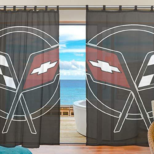 A lie Living Room Semi Sheer Curtains Corvette-Logo Window Drapes 2 Panel Set Living Room Bedroom, 55 x 78 Inches