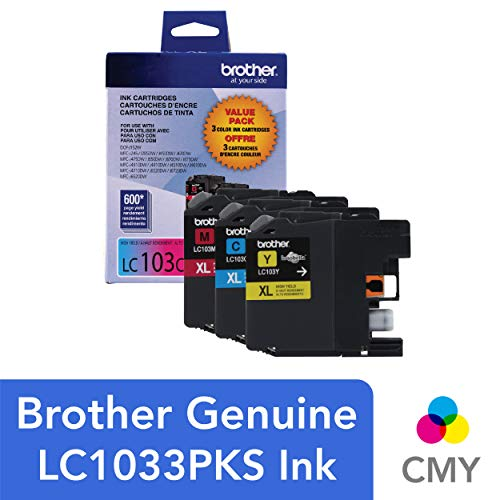 (Brother Genuine High Yield Color Ink Cartridge, LC1033PKS, Replacement Color Ink Three Pack, Includes 1 Cartridge Each of Cyan, Magenta & Yellow, Page Yield Up To 600 Pages/Cartridge, LC103)