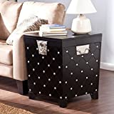 LWD Nailhead End Table Trunk, Black/Satin Silver, Offers closed storage and open display space, Safety hinges prevent slamming, Black painted finish, satin silver accents, Durable metal handles.
