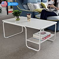 Funmall Modern Rectangular Side Coffee Table with Storage Shelf, White