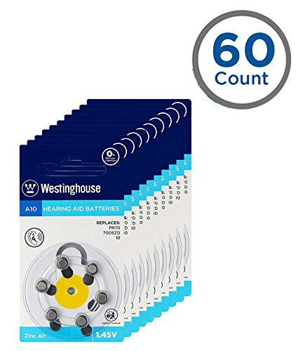 Westinghouse Hearing aid Battery A10, Zinc Air Batteries, Mercury Free (A10, 60 Counts) by Westinghouse