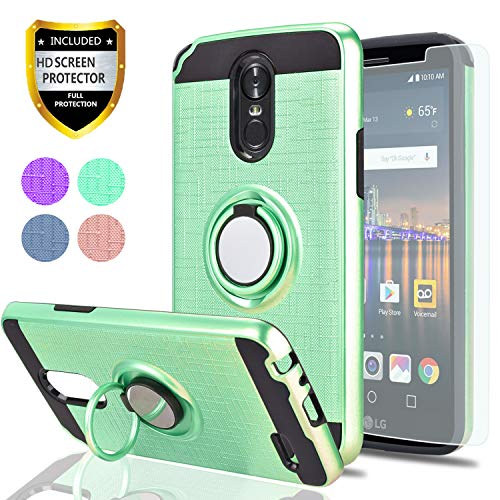 LG Stylo 3 / LG Stylus 3 / LG Stylo 3 Plus Case with HD Screen Protector,Ymhxcy 360 Degree Rotating Ring & Bracket Rubber Dual Layer Shock Bumper Resistant Back Cover for LG LS777-ZH-Mint-1