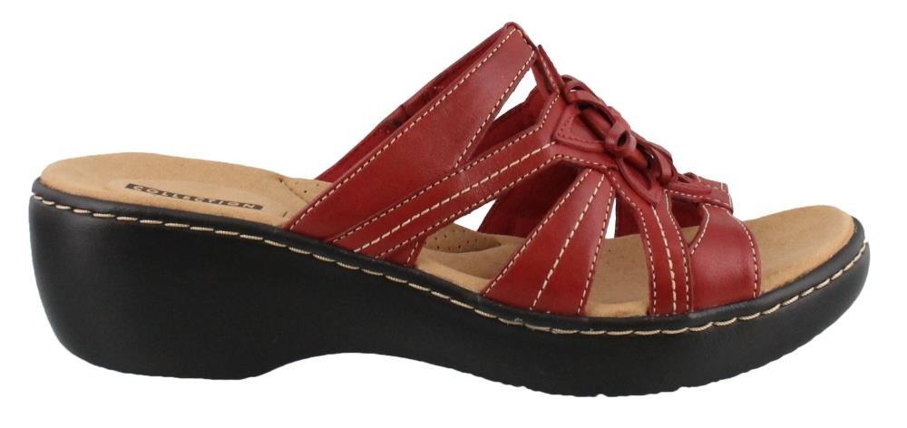 CLARKS Women's, Delana Venna Slide on Sandals RED 11 W
