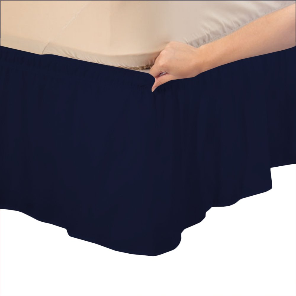Relaxare Twin XXL 300TC 100% Egyptian Cotton Navy Blue Solid 1PCs Wrap Around Bedskirt Solid (Drop Length: 26 inches) - Ultra Soft Breathable Premium Fabric