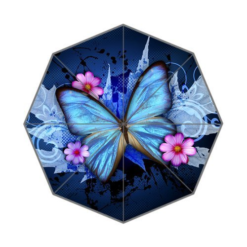 Butterfly Patio Umbrella - Personalized Custom Blue Butterfly And Pink Flowers Parasol Rain Umbrella Folding Umbrella