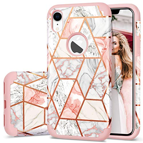 iPhone XR Case, Fingic Rose Gold Marble Design Shiny Glitter Bumper Hybrid Hard PC Soft Rubber Silicone Anti-Scratch Shockproof Protective Case Cover for Apple iPhone XR 6.1 Inch 2018, Marble