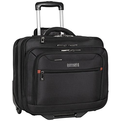 (Heritage Travelware Streeterville 1680d Polyester Triple Compartment Top Zip Laptop Portfolio Overnighter, Black )