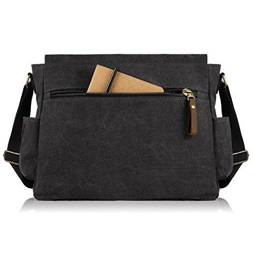 c490c4741b SMRITI 17.3 16 Inch Canvas Messenger Shoulder Bag Laptop Crossbody Men Work  Book Shool Bag - Black (Size