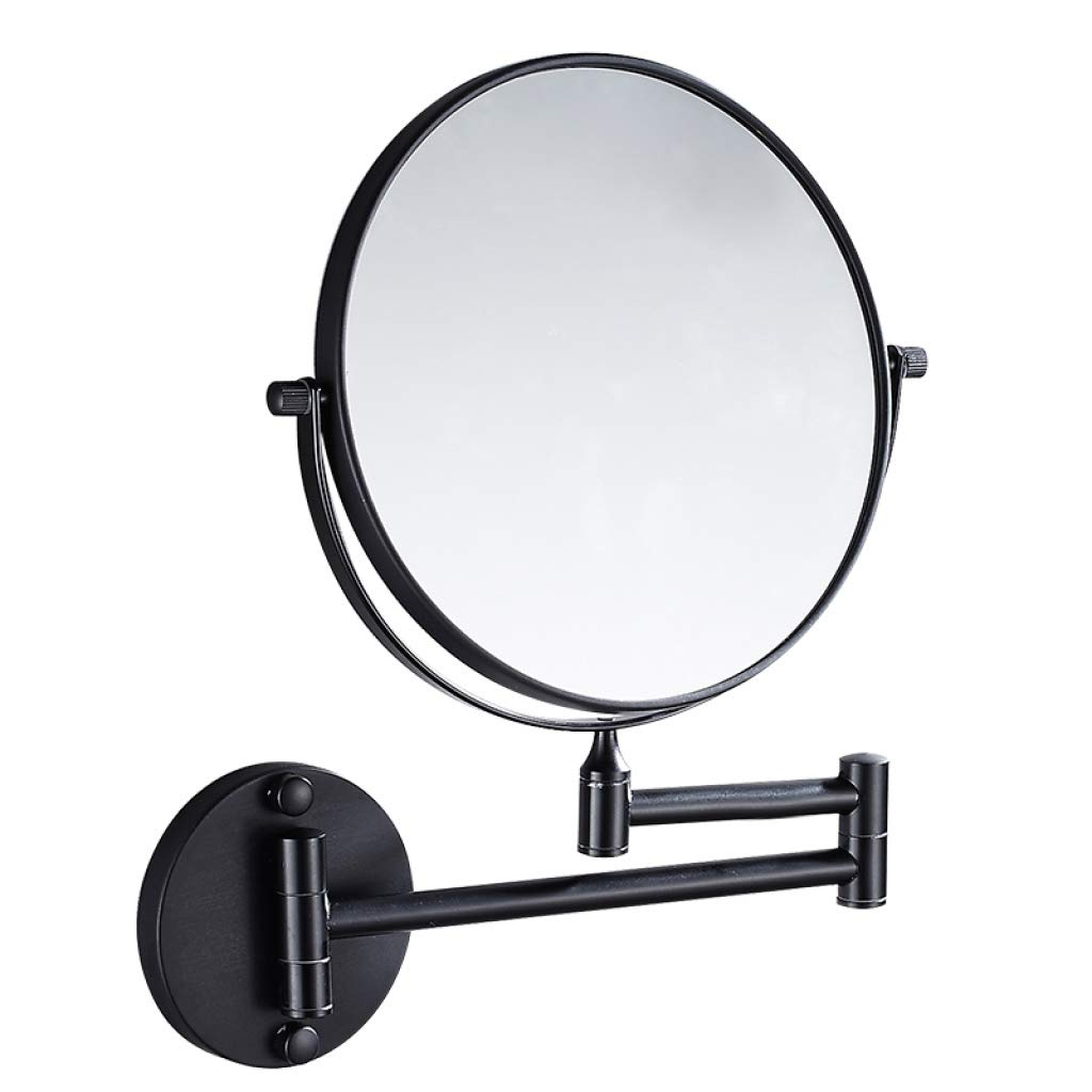 LIUXRONG Wall Mounted Makeup Mirror 3X Magnification,European-Style Bathroom Wall Mount Mirror, Makeup Mirror Double Sided,Aluminum Material,Black_8inch liuxiurong.com