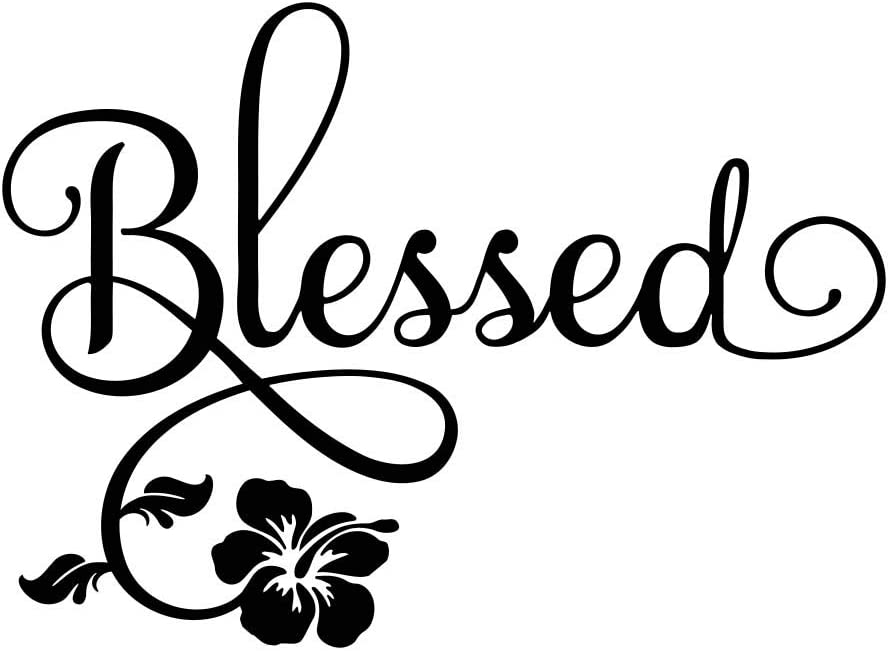 Blessed Laptop Car Decal 5 x 4 (2 per Order) Vinyl Laptop Decal Quote Sticker Computer Calligraphy Art Decor Flower Apple Inspirational Decorative Lettering