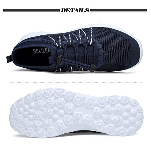 Belilent Heren Lichtgewicht Loopschoenen Ademend Atletisch Casual Schoenen Mode Walking Sneakers Marine / Wit-815
