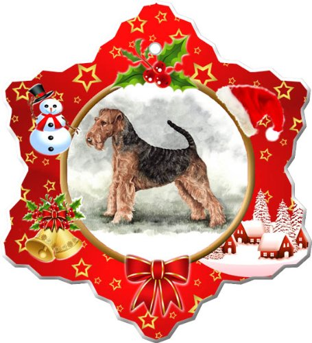 Airedale Terrier Porcelain Holiday Ornament