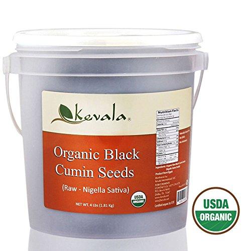 Kevala Organic Raw Black Cumin Seeds (Nigella Sativa) 4 Lb (plastic pail)