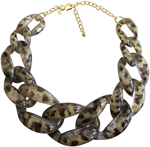 - Kenneth Jay Lane Animal Print Resin Graduated Link Necklace