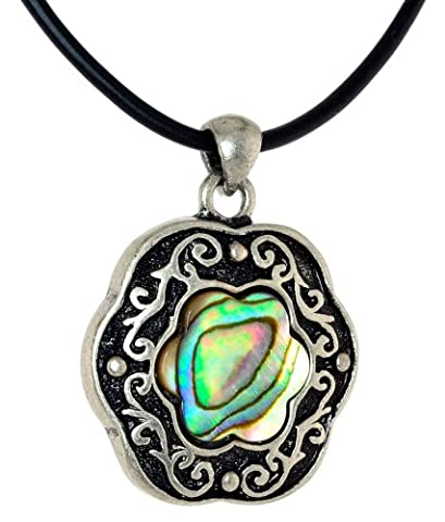 Mid-victorian Abalone(Paua shell) Pendent Cord Chain Necklace (Chain Silver Pendent)
