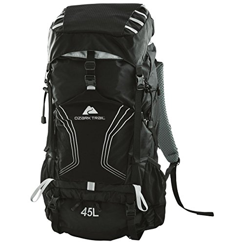 OZARK TRAIL – 45L Montpelier Technical Backpack, Removable Aluminum Frame, 2 Side Mesh Pockets, Trekking Pole Attachment Points, Perfect for Hiking, Camping and Trekking