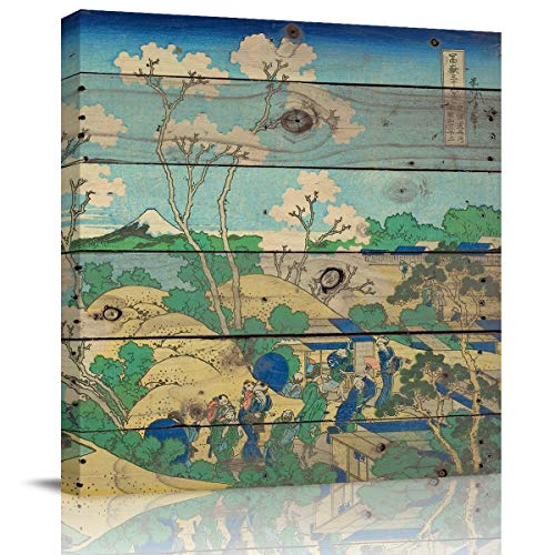 Libaoge Wall Art Katsushika Hokusai - Goten Hill at Shinagawa On The Tokaido Wall Art Painting The Picture Print On Canvas for Home Decoration Gift (Stretched by Wooden Frame,Ready to Hang) 28x28 in -