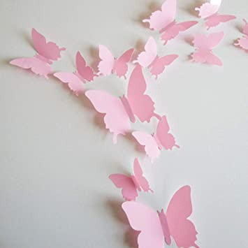 (Pink)   Neele 24pcs 3D Butterfly Removable Mural Stickers Wall Stickers  Decal Wall Decor