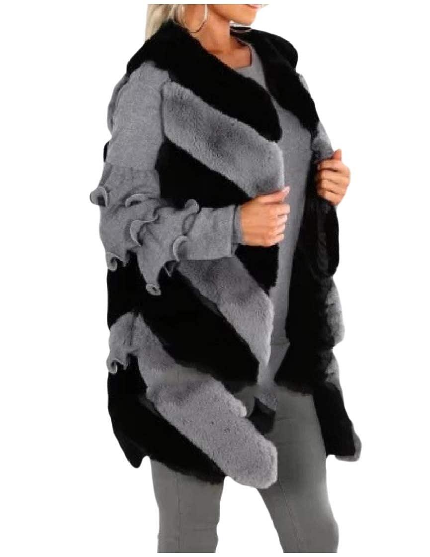 YUNY Women Winter Warm Open Front Vest Faux Fur Shaggy Jacket Coat Black 2XL