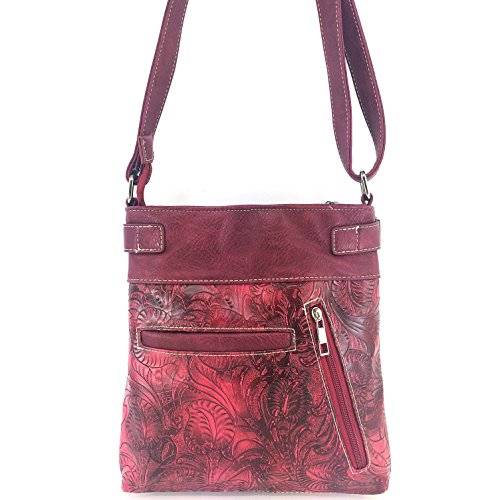 Carry Concealed Phone Purse Roses Messenger Tooled Slot Skull Winged Sugar West Cut Justin and Red Laser Bag Crossbody Handbag with 6cTqZZ