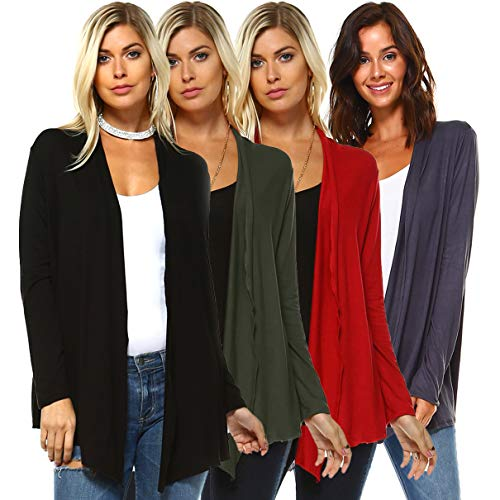 Isaac Liev 4-Pack Women's Open Front Lightweight Casual Flyaway Cardigan (Black, Charcoal, Red & Olive, Small)