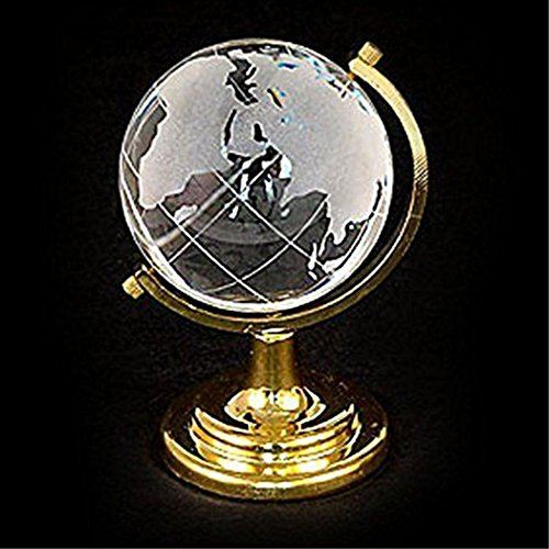 Round Earth Globe Crystal World Map Glass Sphere Ball Table Ornaments Crafts Art Cute Clear 6.54.54.5cm Home Decoration (Crystal World Crystal Globe)