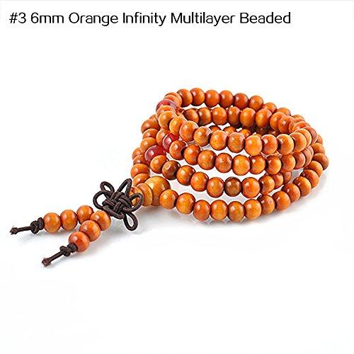 Turquoise Leaf Bracelet - Wintefei Unisex Vintage Lion Head Buddha Leaf Tassels Beaded Stretch Lucky Bracelet - #3 6mm Orange Infinity Multilayer Beaded