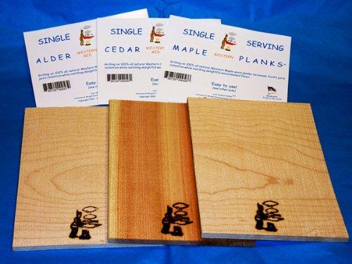 Just Smoked Salmon Grillmaster Single Serving Cedar, Alder & Maple Planks by Just Smoked Salmon