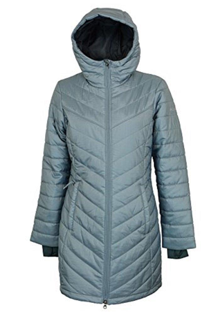 Columbia Omni-Heat Morning Light II Hooded Womens Coat Parka, Silver, Medium