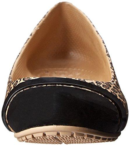 Crocs Cap leopardo del dedo del pie de impresión plana Black/Gold
