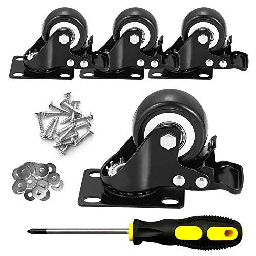 """CLOATFET Caster Wheels, 2"""" Casters with Brake, No Noise Swivel Casters with Set of 4, Polyurethane (PU) Wheels with Locking, 4 pack Castors, Heavy Duty Plate Casters"""