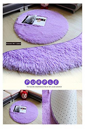 HANYUN Super Soft Modern Living Room Bedroom Anti-skid Shag Silky Smooth Area Rug Carpet Round (Diameter 4Feet/120m Height 4.5cm - Purple)