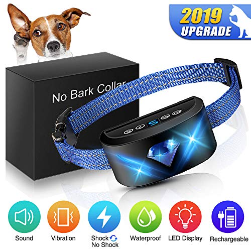 ([ New Generation] Dog Anti Bark Collar, 6-in-1 Adjustable Collar Beep Vibration Shock 7 Sensitivity, Best bark Humane No Harm Control Collar with New Algorithm for Small Medium Large Dogs)