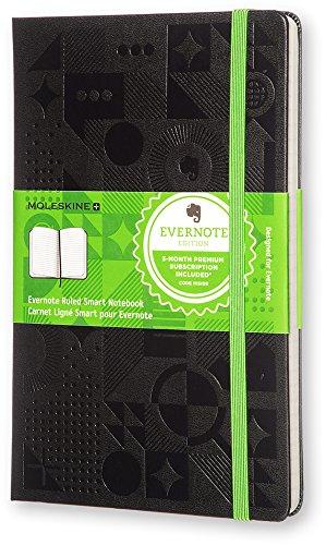 Moleskine Evernote Smart Notebook Large  Ruled Black Hard