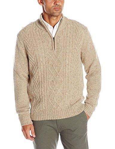Haggar Men's Long Sleeve 1/4 Zip Mock Neck Cable Knit Sweater, Oatmeal, ()