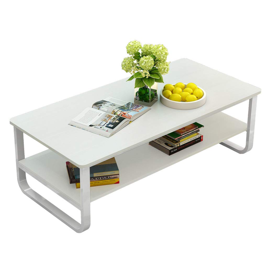 Coffee Tea Table 47''×22.8'', Sonmer Double Storage Space End Table Modern Simple Style Latest, Shipped from US - Two Day Shipping (White)