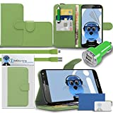 iTALKonline Motorola Moto X Play 2015 Green PU Leather Executive Multi-Function Wallet Case Cover Organiser Flip with Credit / Business Card Money Holder Integrated Horizontal Viewing Stand, LCD Screen Protector and 1000 mAh dual bullet car adapter and flat Micro USB charging cable