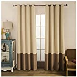 Nibesser 2 Tones Blackout Draperies Curtains Thermal Insulated Grommet Color Block Blackout Curtains/Drapes Beige Coffee (52W x 84L Inch) For Sale