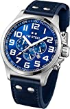 TW Steel Pilot Sunray Blue Dial Chronograph Stainless Steel Blue Leather Mens Watch TW403