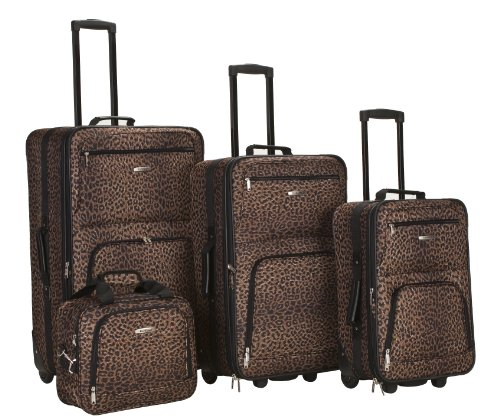 Rockland Luggage 4 Piece Luggage Set, Brown Leopard, - Brown Luggage