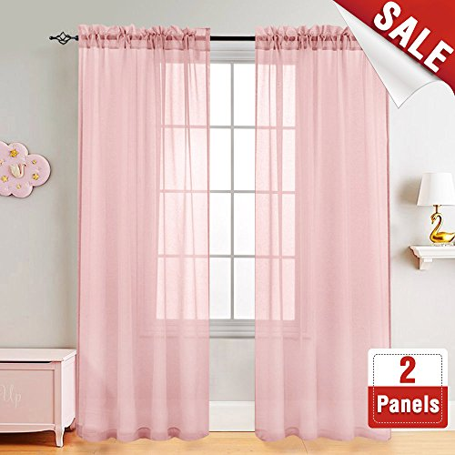 Girl's Room Sheer Curtains Pink 95 inches Long for Bedroom Sheer Curtain Panels for Living Room Voile Drapes Window Treatment Set, 2 Panels