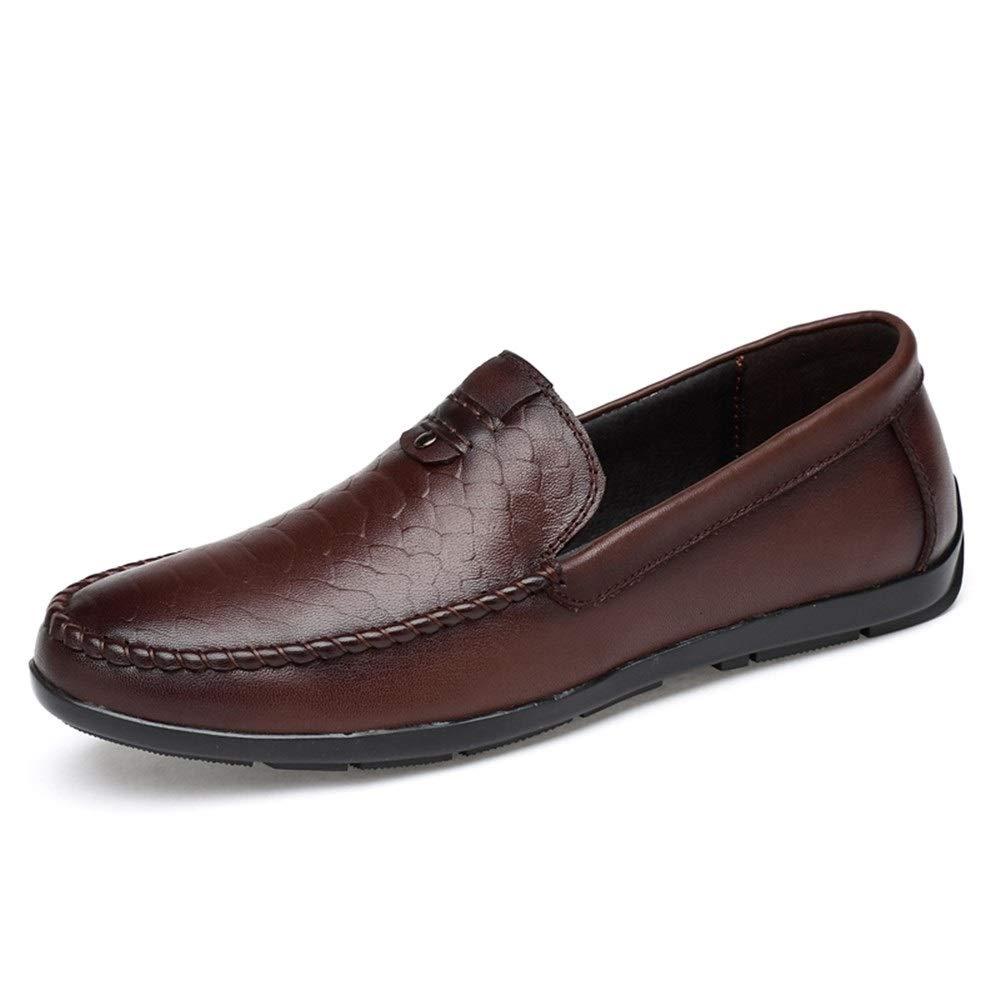 Darkbrown Lvjuzhuangshieur Men Driving Loafer Boat Moccasins Slip-On Style OX Leather Lightweight Round Toe